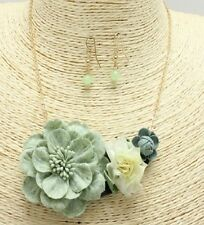 Gold and Green Floral FASHION Necklace Set