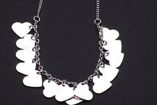 CHEERFUL SILVER TONE CHAIN CHOKER SHINY HEART-SHAPED CHARMS UNIQUE CHIC (CL18)