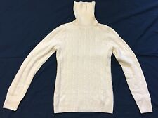 JCrew Ivory Cable Knit Cashmere Blend Turtleneck Sweater Sz S EUC