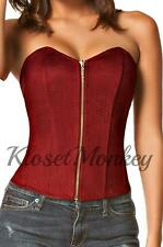SEXY WINE CORSET BUSTIER STRAPLESS ZIPPER SUEDE LACE-UP STRETCH BIKER TOP L