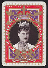 1 Single ANTIQUE Playing/Swap Card OLD WIDE ROYALTY QUEEN MARY H/Bone Gold Det.