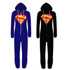 New Womens Mens Superman Onesie Playsuit Ladies All In One Piece Jumpsuit