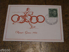 Germany 1956  Olympics Cover Maximum Card  See Scan