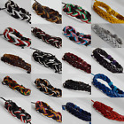 Men Boys Women Girls Leather & Cord Twist Hemp Surfer Wristband Bracelets Multi