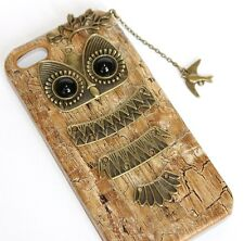 iPHONE 5 5S SE - HARD SNAP ON PROTECTOR SKIN CASE GOLD BRONZE METAL OWL W/ CHAIN