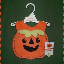 New Carters Babys Halloween Pumpkin Bib Boy or Girl 0 12+M NWT VHTF Costume