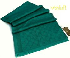 "GUCCI wool & silk 28x77"" Emerald & Teal Monogram Scarf Pashmina NWT Authentic!"