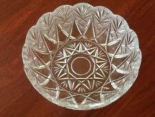 "8"" Inch Round Salad or Fruit Serving Bowl Etched Lead Crystal Serving EUC"