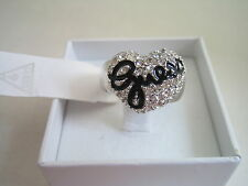 GUESS JEWELLERY PAVE HEART CHARM STRETCH RING UBR81101 BNWT