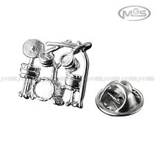 Buy 2 Get 1 Free Band Drum Music Silver Suit Shirt Lapel Pin Brooch Emblem Badge