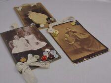 Antique Photographs Children Turn of Century Lace hangers Vintage Buttons 3 Pics