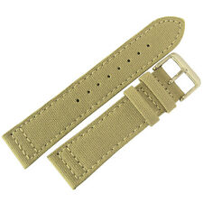 22mm EULIT Tan Sand Khaki Canvas Made in Germany Mens Watch Band Strap