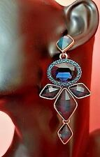 New Signed OSCAR DE LA RENTA Blue Cabochon Crystal Dangle EARRINGS Long blue