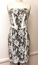 Karen Millen Sz US6 Ivory Allover Lace/Black Crepe Strapless Cocktail Mini Dress