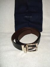 100% AUTH NEW MEN PRADA SAFFIANO REVERSIBLE BLUE BROWN LEATHER BELT US 32/80