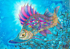 Fish / Angler's Dream Catch / Original Acrylic Ink by Xenia Hahonina