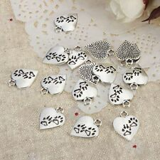 100x Tibetan Paw Print Heart Pendants Charms For DIY Jewelery Bracelet Necklace