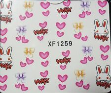 Accessoire ongles: nail art - Stickers autocollants -Motifs Lapins Coeurs Noeuds