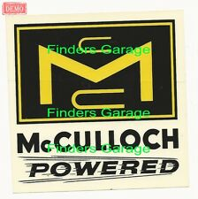 Mc Culloch Powered GO KART ENGINES '60'sVintage Style decal/sticker