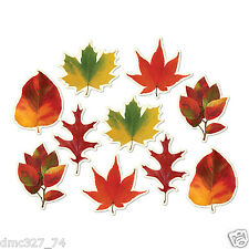 10 FALL Thanksgiving Party Decorations Mini AUTUMN LEAF Leaves Die Cut CUTOUTS