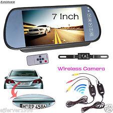 """7"""" Wireless TFT LCD Monitor Mirror+ Car Truck Backup Camera RCA Kit Night Vision"""