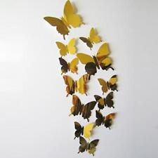Wall Stickers Decal Butterflies 3D Mirror Wall Art Home Decors Gold
