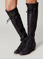 Jeffrey Campbell Halle Granny Knee High Lace Up Campus Womens Boots Size 7