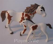 Playmobil Farm/stables/western: Horse & foal (white/brown flock patches) NEW