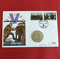 TURKS & CAICOS 1995 VE DAY PROOFLIKE 5 CROWNS - coin cover