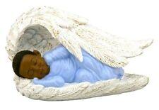 Baby Boy Sleeping In Angel Wings, African American Figurine, by United Treasures