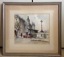 Antique Watercolor Painting European City Early 1900's Signed