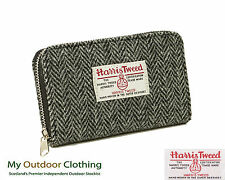 100% Hand Woven Harris Tweed Ladies Amy Purse - Made in Scotland Black and White