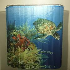 Blue Sea World Big Turtle Shower Curtain Simple Ring Pull Family Bathroom Decor