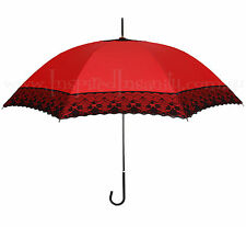 Red + Black Lace Parasol Umbrella ~ Pinup Rockabilly Psychobilly 40s 50s Wedding