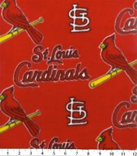 MLB St. Louis Cardinals Red Baseball Fleece Fabric Print By the Yard s6553bf