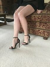 Sexy Black Patent Barely There Sandals by Atmosphere - Size 5