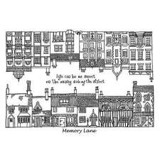 Crafty Individuals MEMORY LANE HOUSE Unmounted Red Rubber Stamps