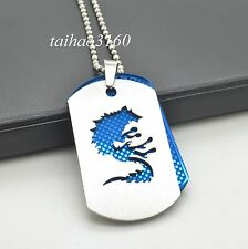 Cool Men's Blue Silver Stainless Steel Wolf Dog Tag Pendant Chain Necklace A155