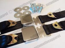 LAP STYLE CHROME BLACK SEAT BELTS MUSCLECAR HOTROD RESTOMOD COMPLETE KIT