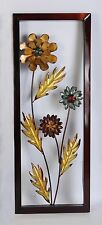 FRAMED YELLOW DAISY MODERN METAL FLORAL WALL ART FOR HOME & OFFICE WALL DECOR