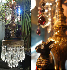 Old Black Cat Swag Lamp Chandelier brass spelter Beaded purple Amethyst crystals