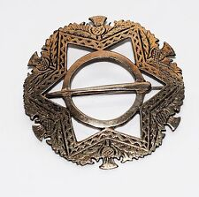 Victorian Large Scottish Thistle Celtic Penannular Plaid Silver Brooch