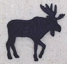 Iron On Embroidered Applique Patch Moose Black Silhouette Facing Right LARGE