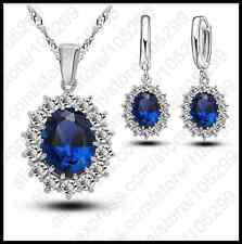 ROYAL 925 Sterling Silver Kate DIANA Blue Sapphire Crystal COLLANA Orecchino Set