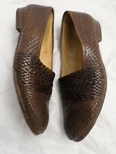 BALLY Boll brown woven braided leather made Italy loafers 10.5W