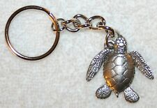 SEA TURTLE Fine Pewter Keychain Key Chain Ring USA Made