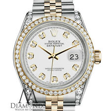 Rolex Stainless Steel-Gold 36 mm Datejust Watch White Color Diamond Dial