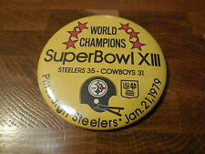 SUPER BOWL XIII PINBACK BUTTON Pittsburgh Steelers vs Dallas Cowboys (3.5-inch)