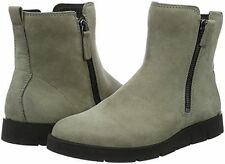 Ecco Womens Bella Zip Boots Warm Grey Nubuck Leather US 7-7.5 US 38 New in Box