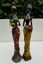 X2 African Woman Lady Baby Pot Figurine Statue Ornament Resin Brown Yellow Black